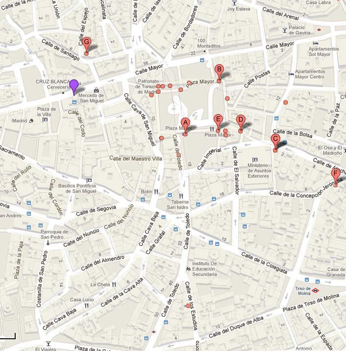 mapa calle mayor, cava baja
