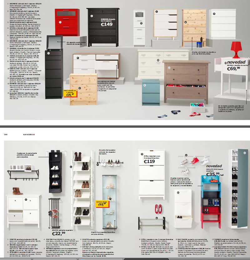 cómodas, cajones y estanterías para dormitorios. Catálogo Ikea 2013