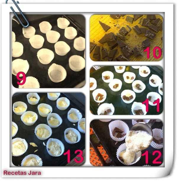 Receta de cupcakes rellenos de chocolate líquido paso a paso