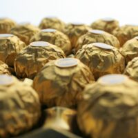 Golden Ferrero Rocher chocolates waiting to be unwrapped!