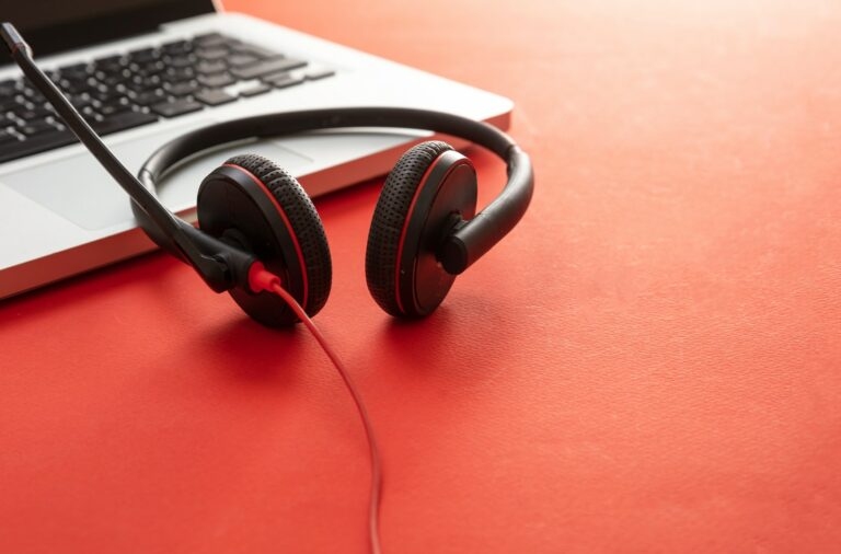 Headset on black background. Call center, home office, customer service support, help desk
