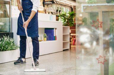 Waiter wiping floor